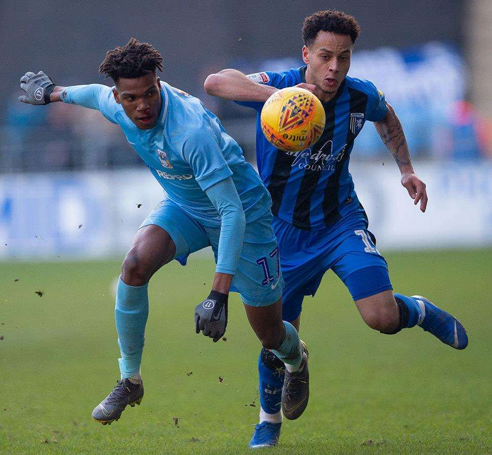 Elliott List in action for Gillingham at Coventry Picture: Ady Kerry