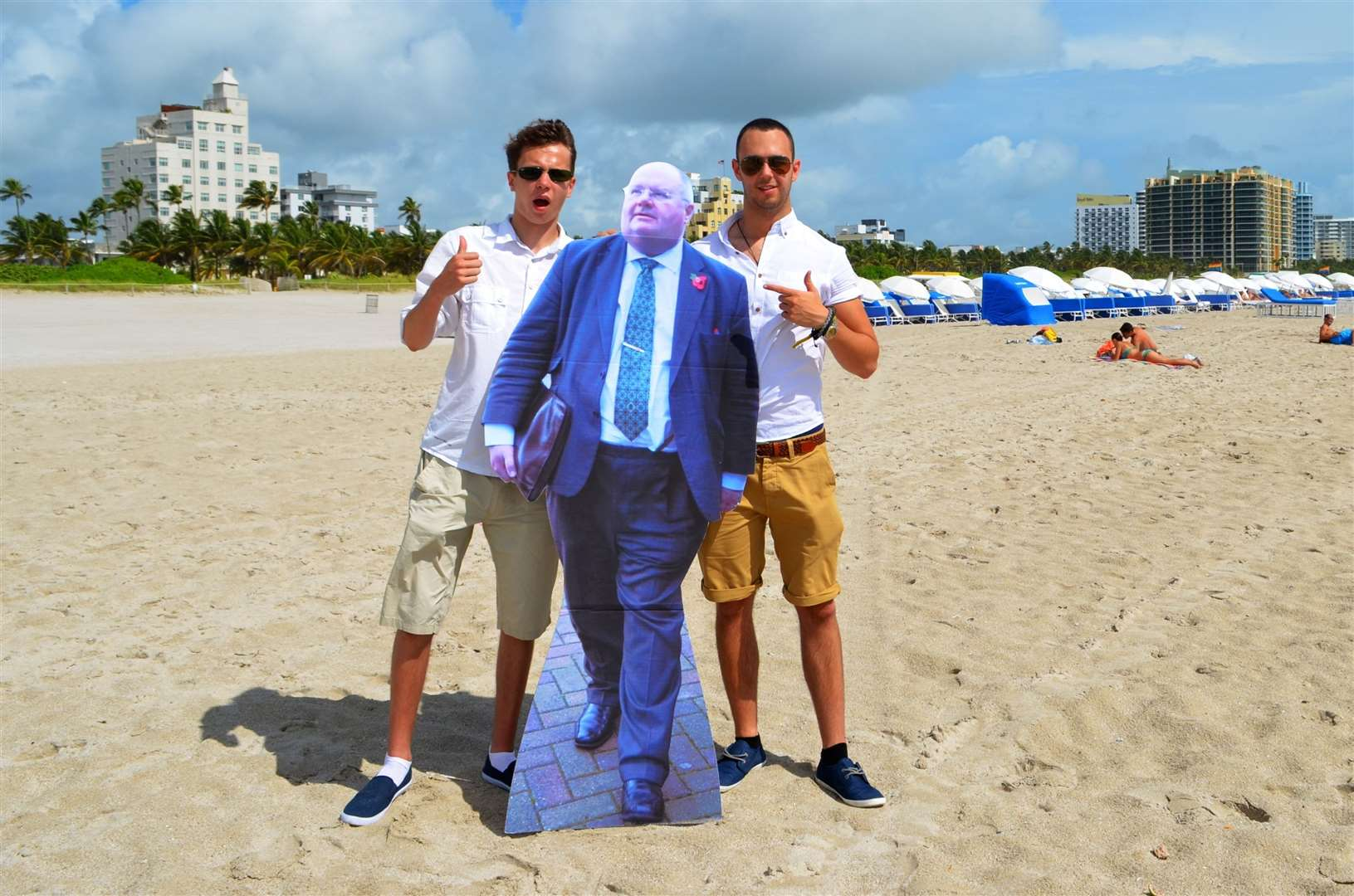 James with pal Daniel Falvey during their tour of the States with a cardboard Eric Pickles