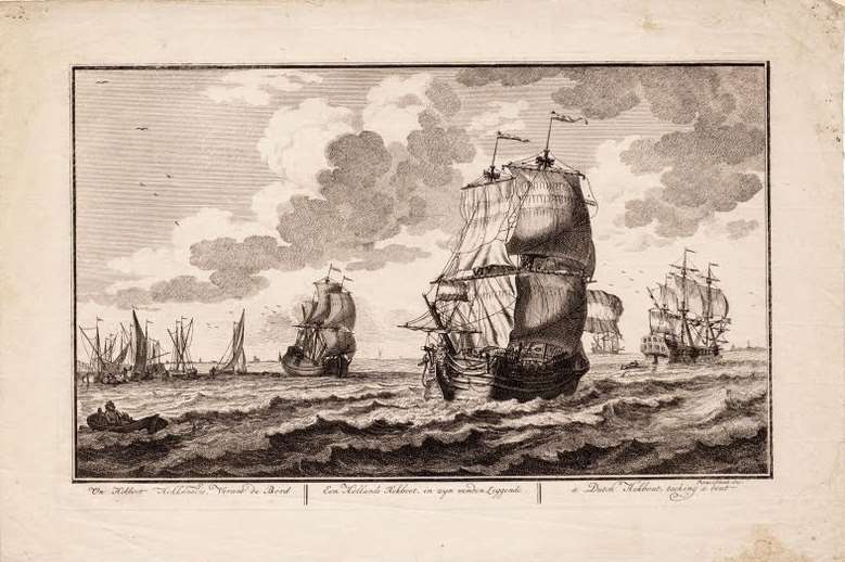 Drawing of the ship – A drawing of a ship similar to the Rooswijk – a Dutch 'hekboot', by Adolf van der Laan in 1716. Copyright: Collection of the Fries Scheepvaartmuseum.