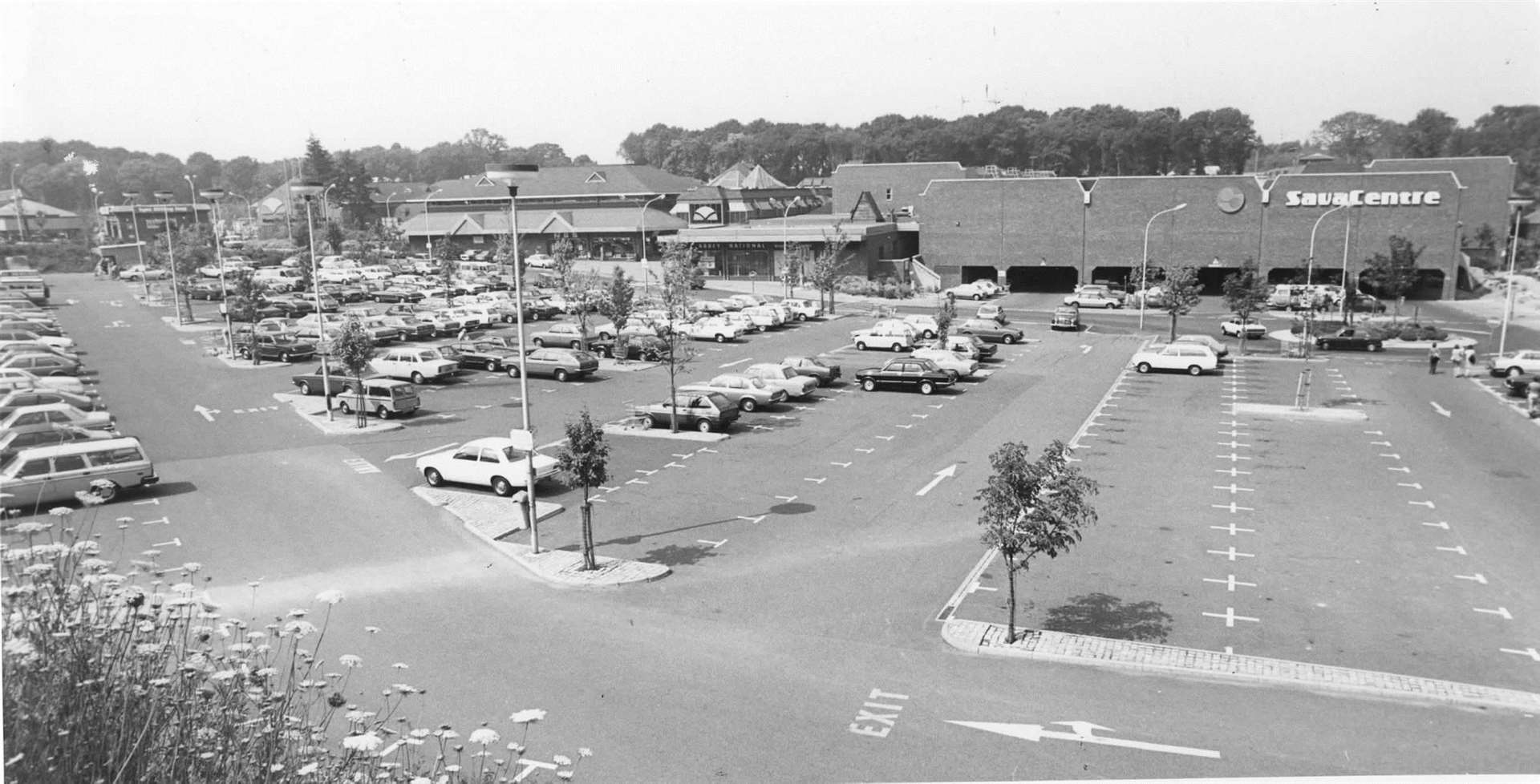View of the former Sava Centre Shopping complex, now Hempstead Valley in Gillingham in July 1982