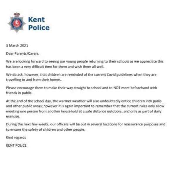A copy of the letter sent by police
