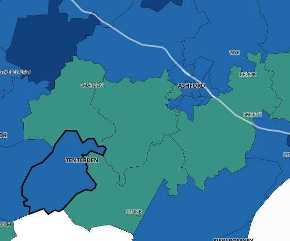The Covid-19 infection rates in Ashford. Pic: Public Health England