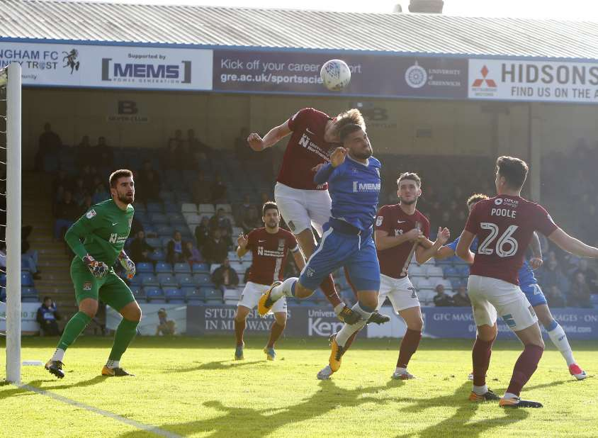 Max Ehmer looking to cause problems in Northampton's box Picture: Andy Jones