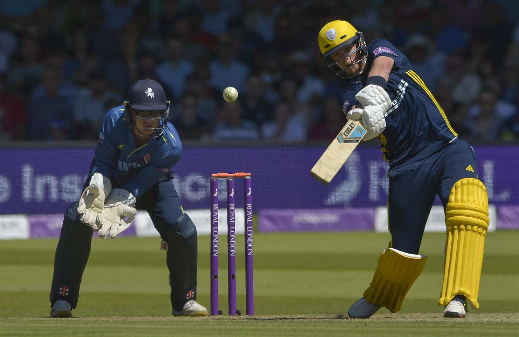 Hampshire's Sam Northeast hits out during his innings of 75 not out Picture Ady Kerry