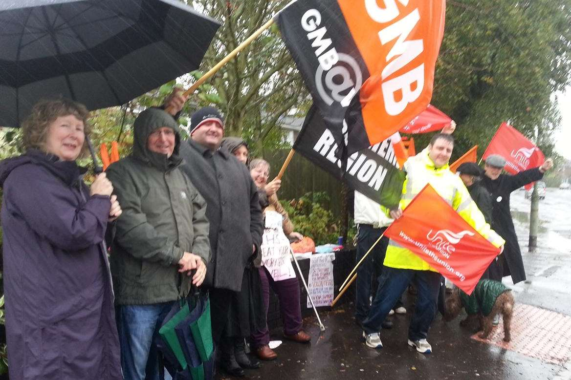 Striking staff at Kent and Canterbury Hospital