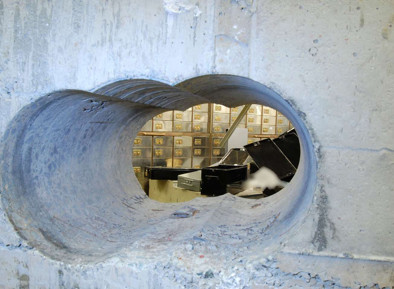 The hole left at the Hatton Garden heist. Picture: Met Police