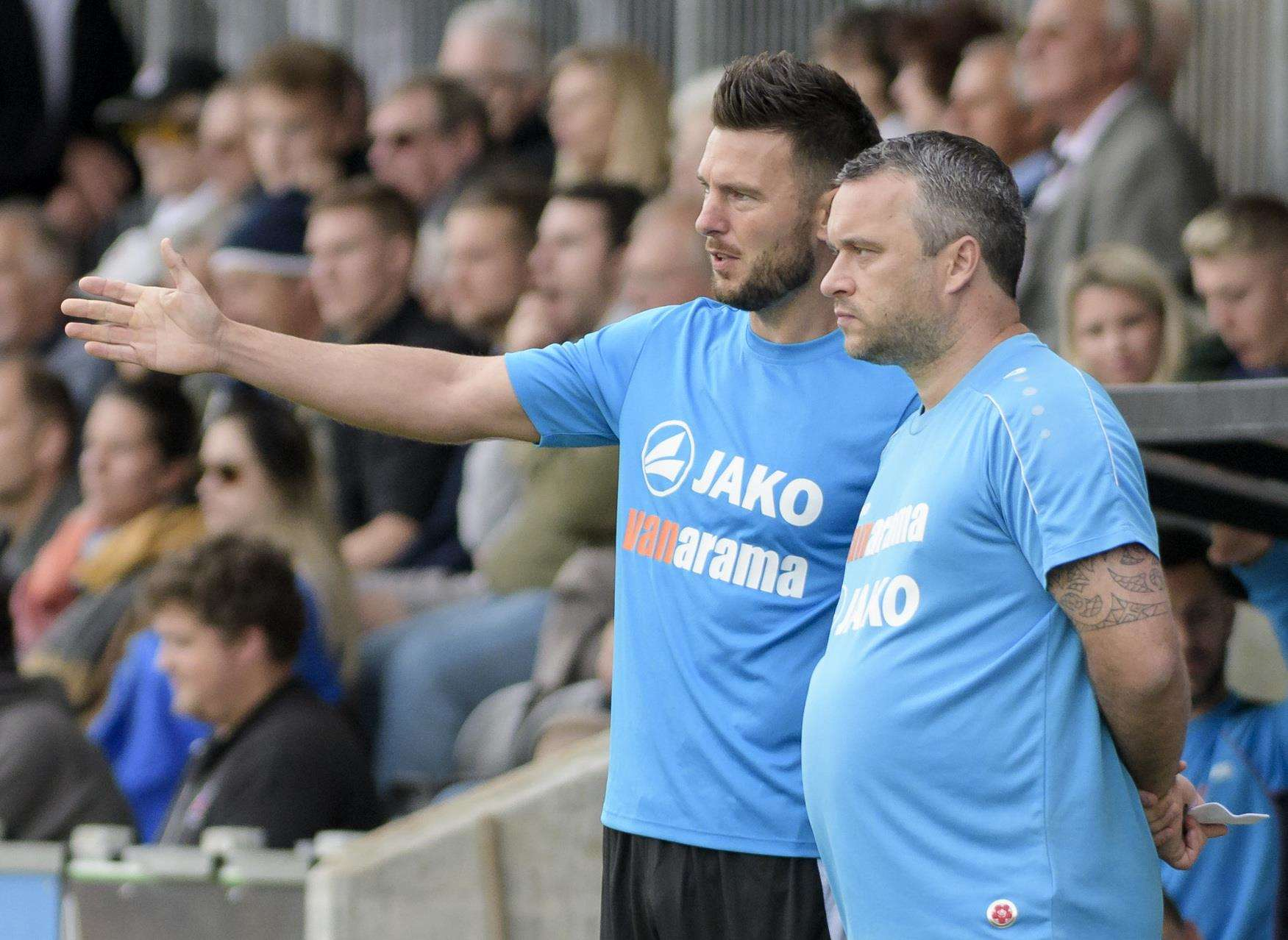 Dartford joint-managers Jamie Coyle and Adam Flanagan Picture: Andy Payton