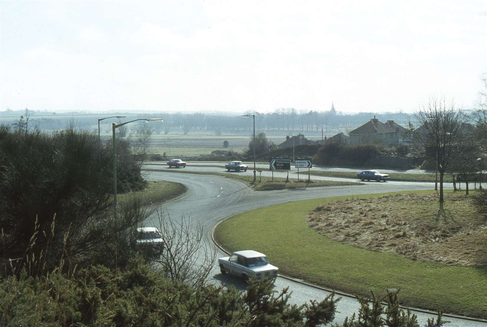 The old roundabout at the top of Ashford Bypass where it meets Hythe Road in 1978, before work commenced. Picture: Neville Marsh