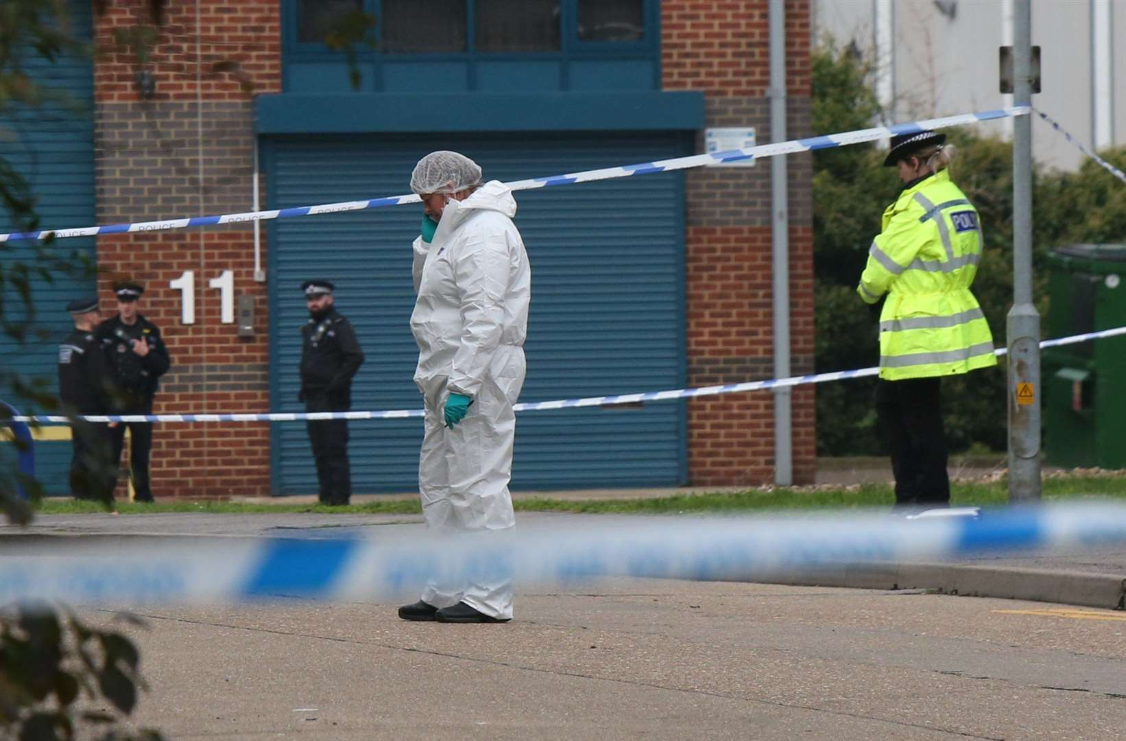 Police at the scene of the grim discovery in Thurrock, Essex Picture: UKNIP