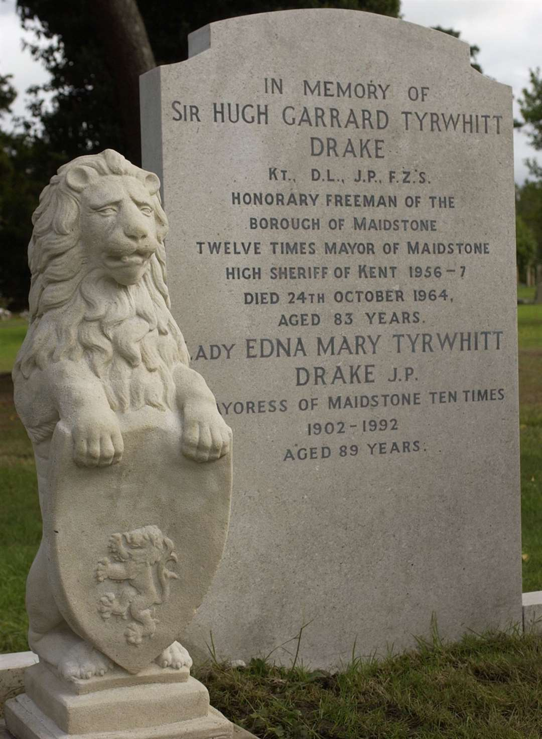 Sir Garrard is buried in Maidstone Cemetery with his wife, Lady Edna