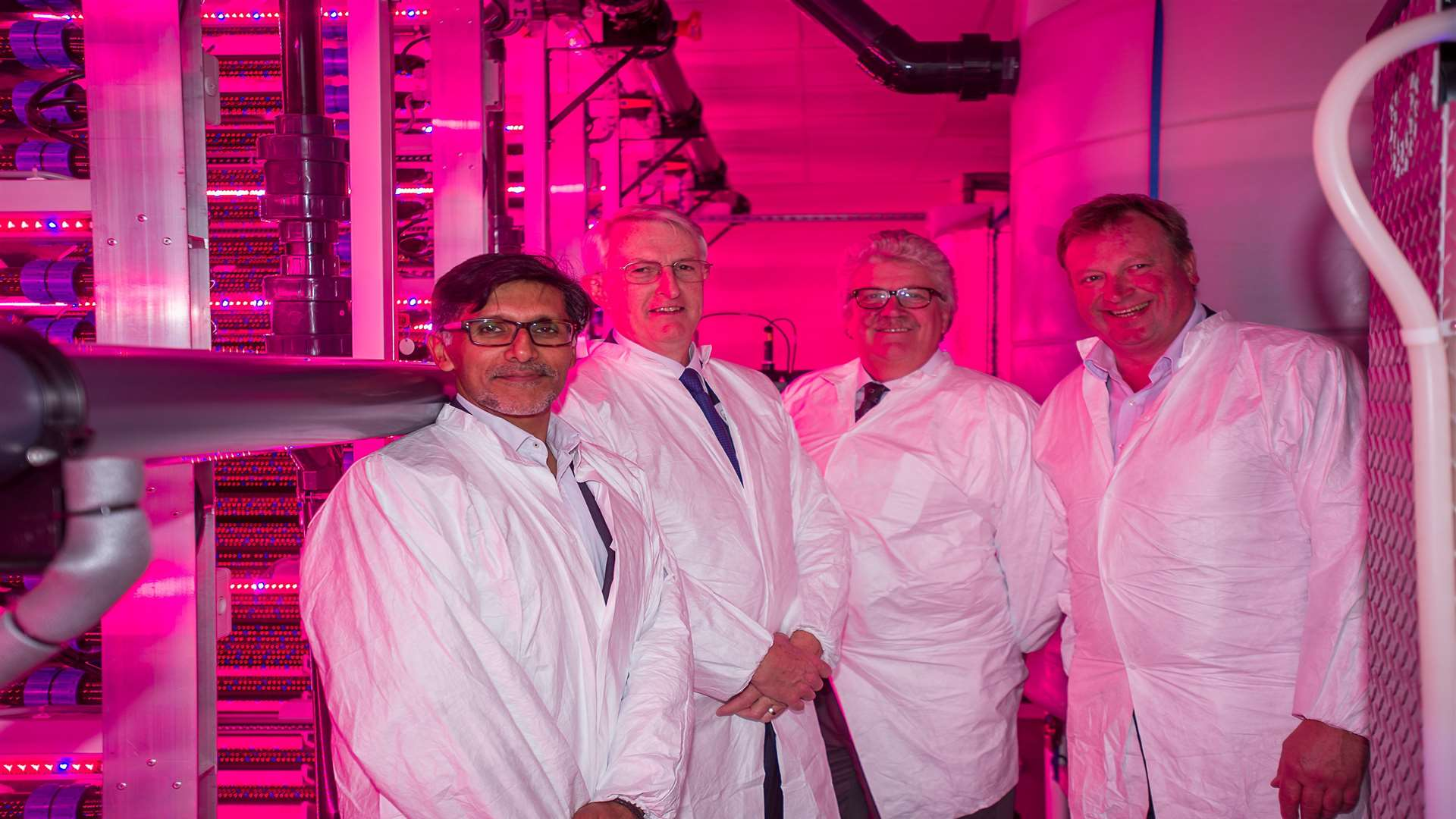 From left, AlgaeCytes chief executive Naz Bashir, AlgaeCytes non-executive chairman Chris Every, Kent County Council cabinet member for economic development Cllr Mark Dance and Discovery Park chief executive Toby Hunter