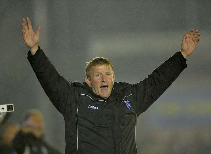 Gills boss Ady Pennock appeals for a decision at AFC Wimbledon Picture: Ady Kerry