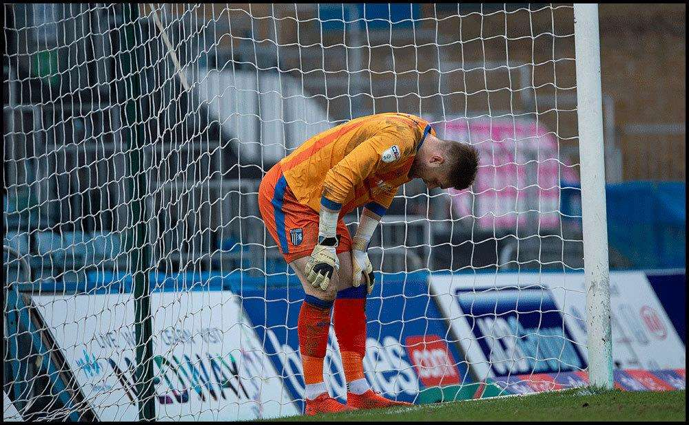 Frustration for Gillingham keeper Tomas Holy Picture: Ady Kerry