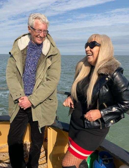 Entertainer Paul O'Grady heading out from Sheppey with Margaret Flo McEwan to record an ITV programme about the Second World War Maunsell sea forts
