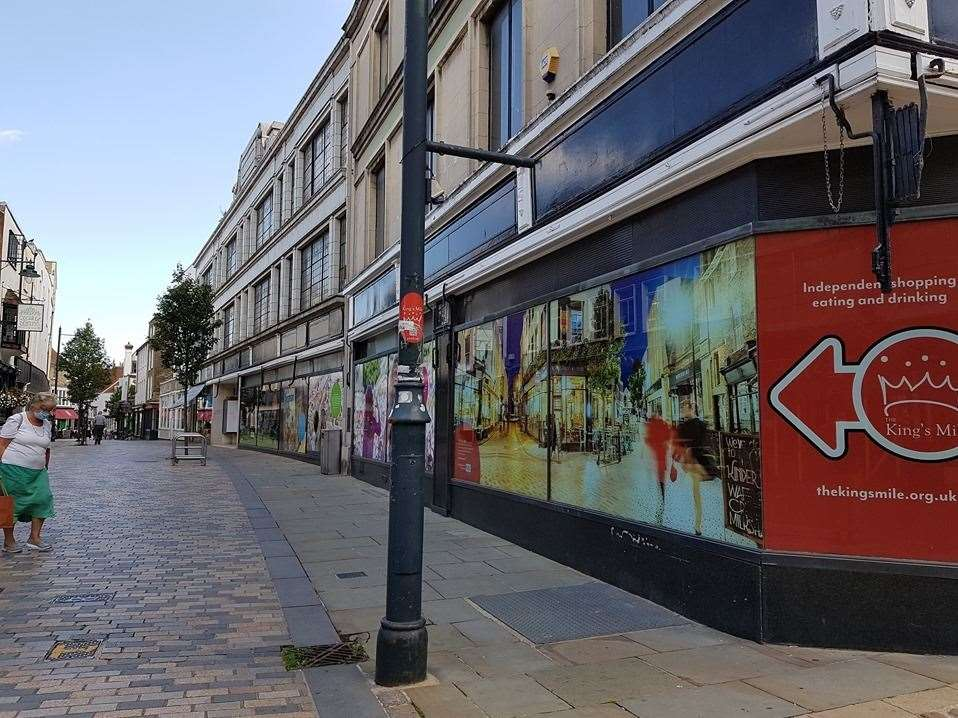 Catman's new piece is daubed on the former Debenhams store in Canterbury's Guildhall Street