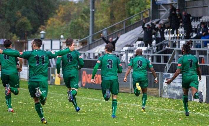 Cray Valley celebrate the winner at Maidenhead. Picture: Dave Cumberbatch (42844524)