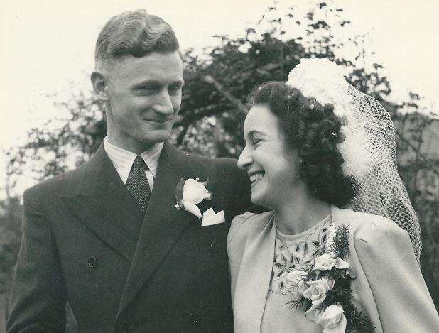 Jan Canty had this picture of her parents' wedding turned into colour for their 70th anniversary