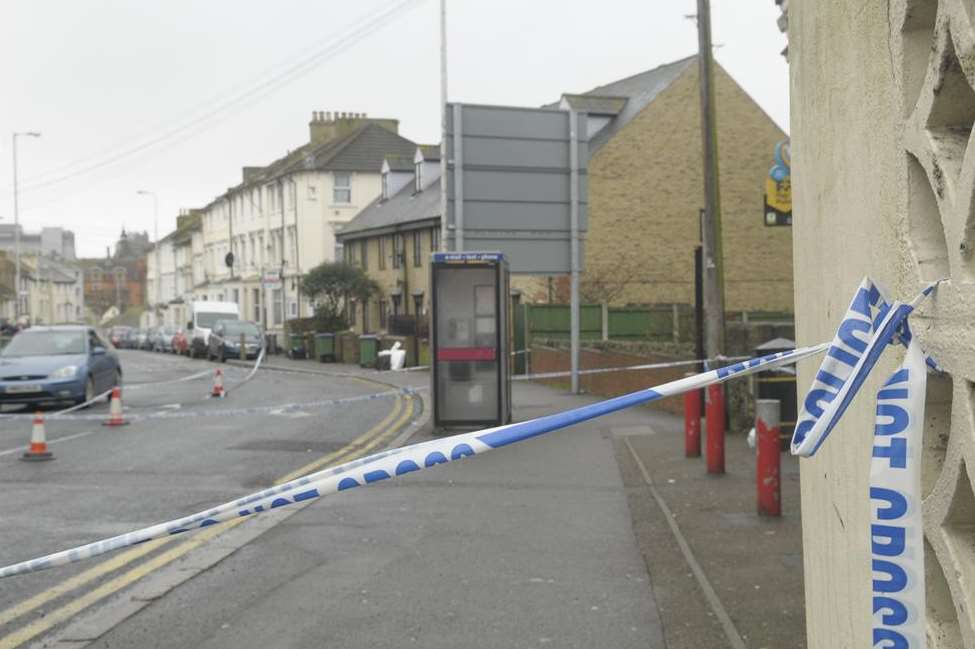 Dover Road was initially sealed off following the stabbing, which actually happened several streets away. Picture: Ruth Cuerden
