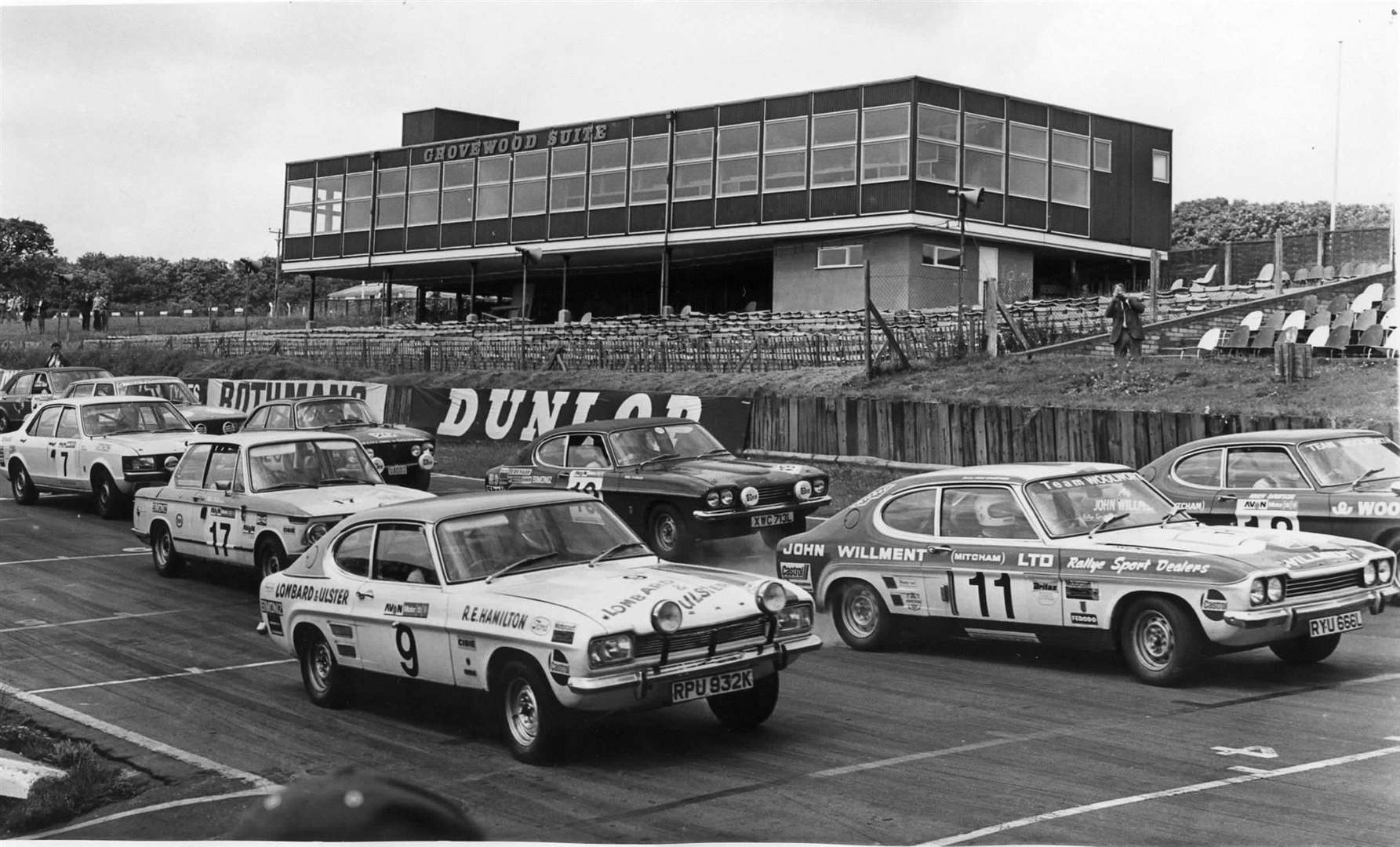 The start of a 20-minute race at Brands in 1973 which included a Capri 3000, centre of picture, owned by Prince Michael and driven by Nigel Clarkson