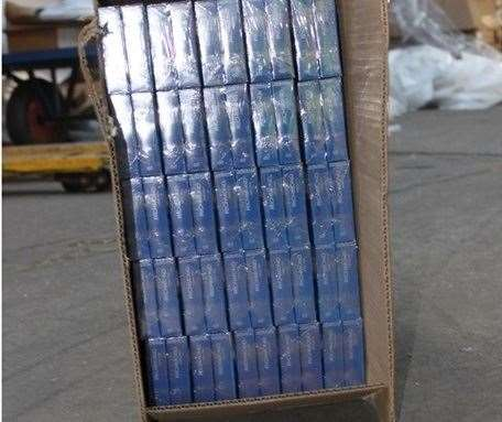 Cigarettes inside one of the boxes recovered by Border Force officers