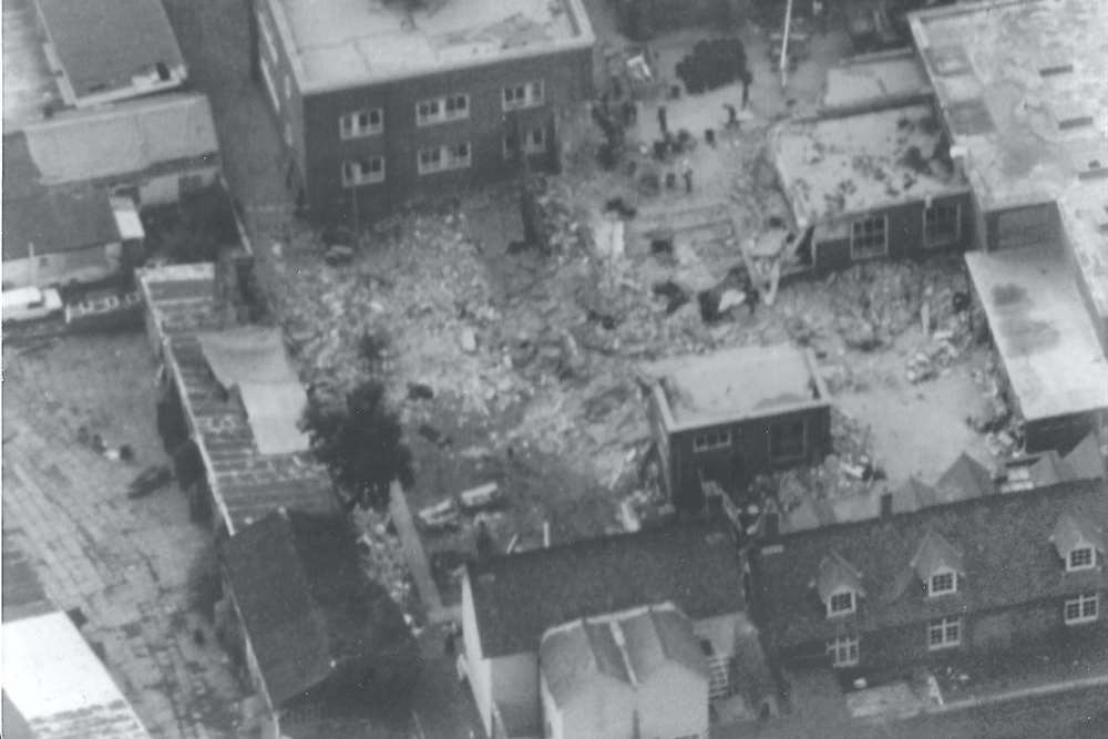 An aerial view shows the extent of the devastation after the Deal barracks bombing