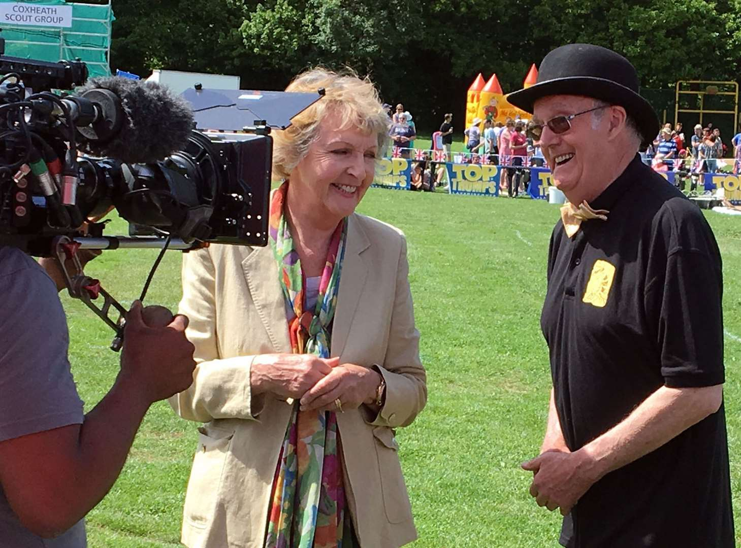 Penelope Keith interview Mike FitzGerald at the Coxheath Custard Pie Championships