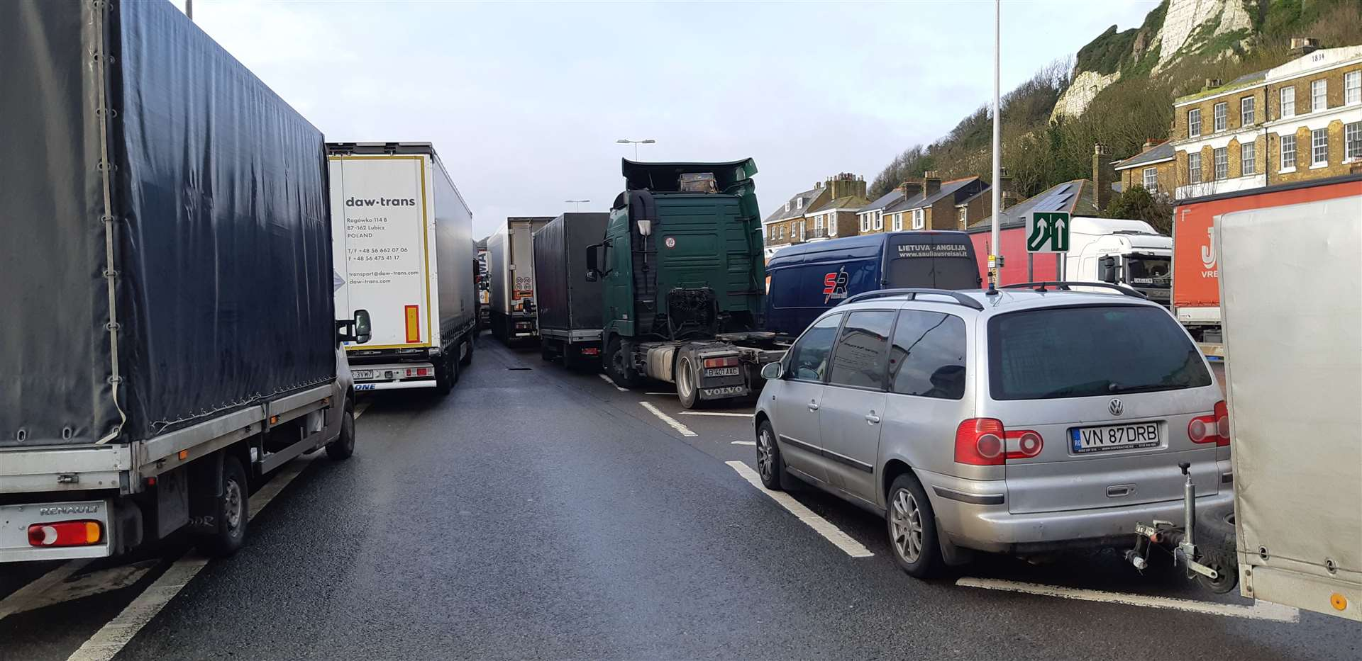 A wall of lorries at Townwall Street in Dover in the second day of border disruption