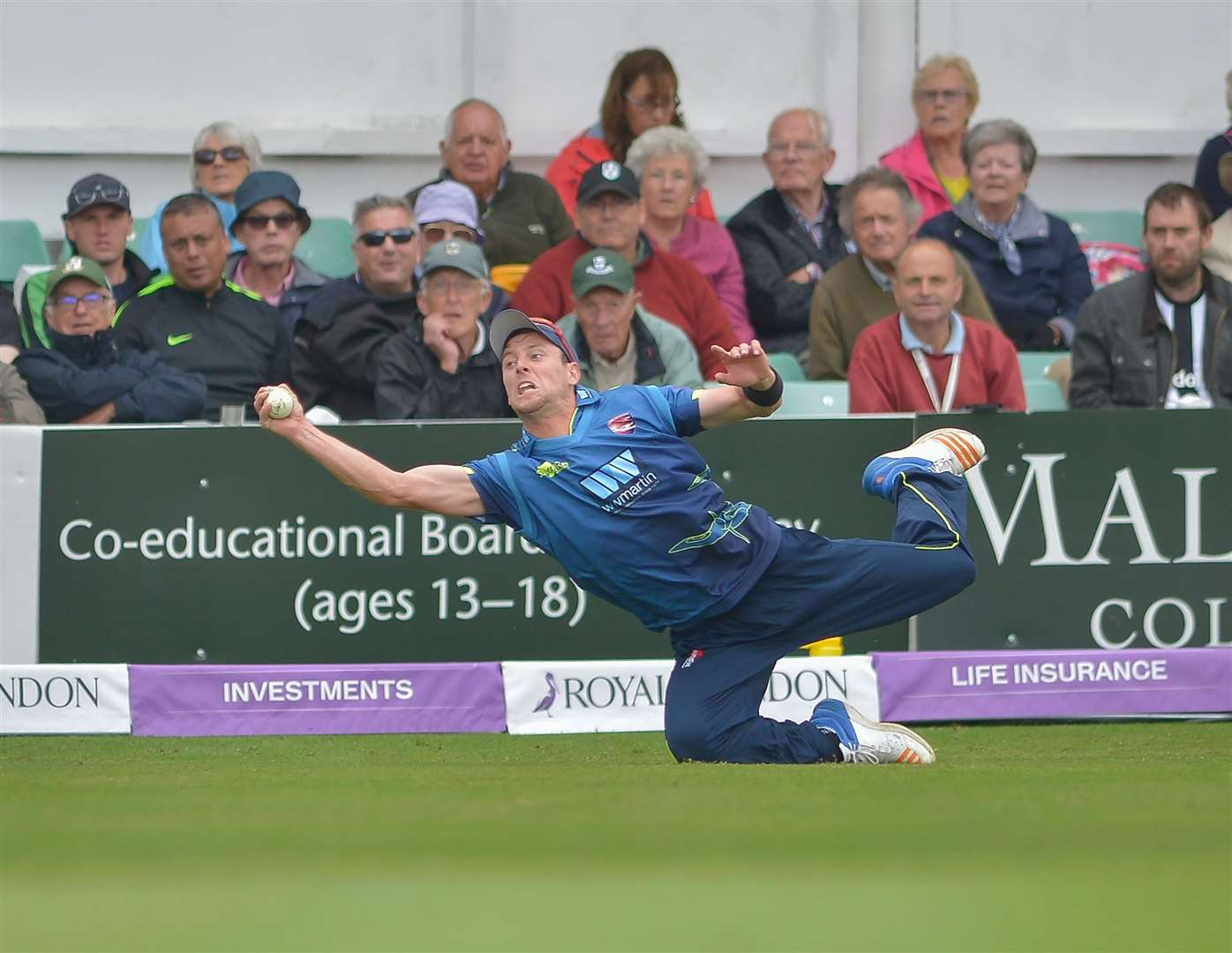 Kent's Matt Henry takes the catch to dismiss Brett D'Oliveira during their Royal London One-Day Cup Semi Final. Picture: Ady Kerry