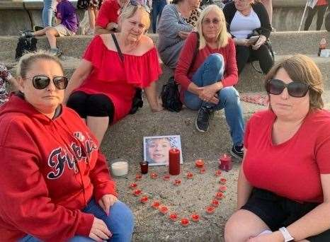 Sheppey residents turned out to show their support for the family of Lucas Dobson on Tuesday night. Picture: Karen Clayton
