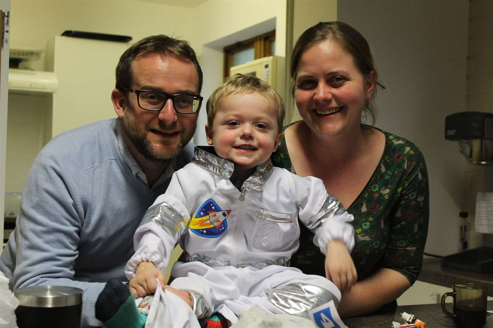 Laurence and Caroline Powell with their four-year-old son, Theo, who has cystic fibrosis