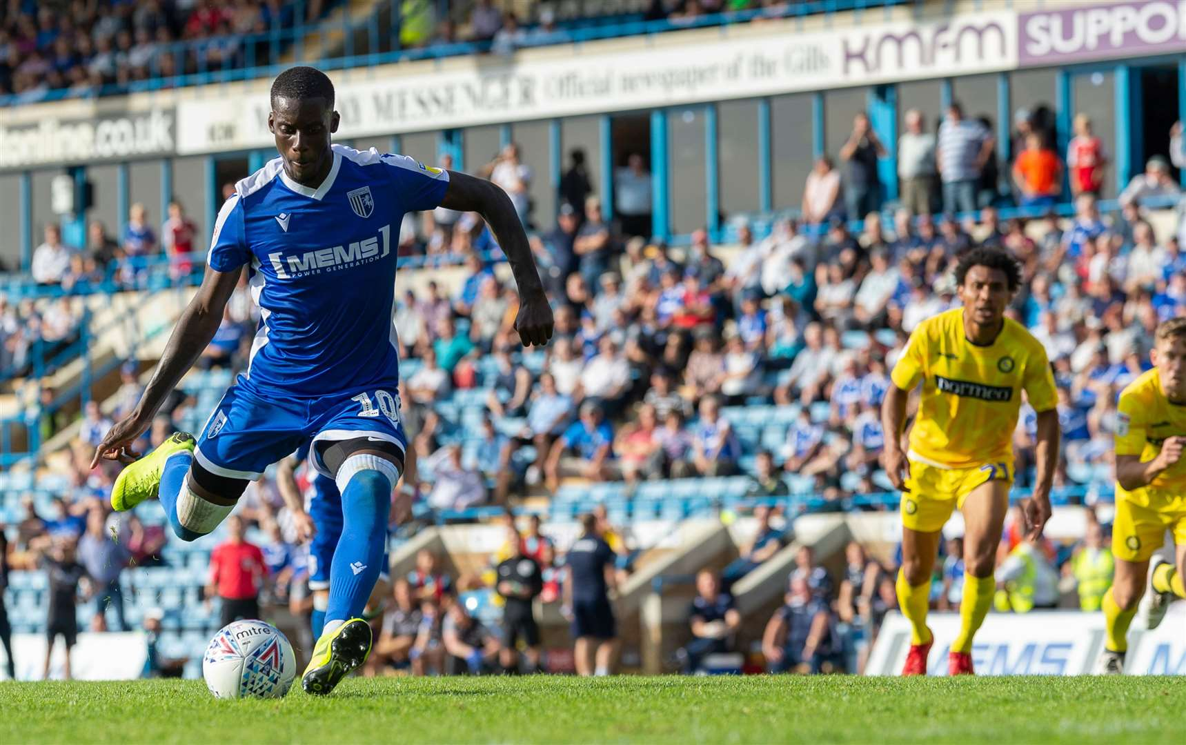 Mikael Ndjoli scores from the penalty spot for Gills against Wycombe. Picture: Ady Kerry