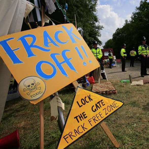The Cuadrilla hydraulic fracking drill site in Balcombe in Sussex