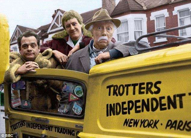 Only Fools and Horses' stars David Jason, Nicholas Lyndhurst and Lennard Pearce as Grandad with their trademark three-wheeler. Picture: BBC