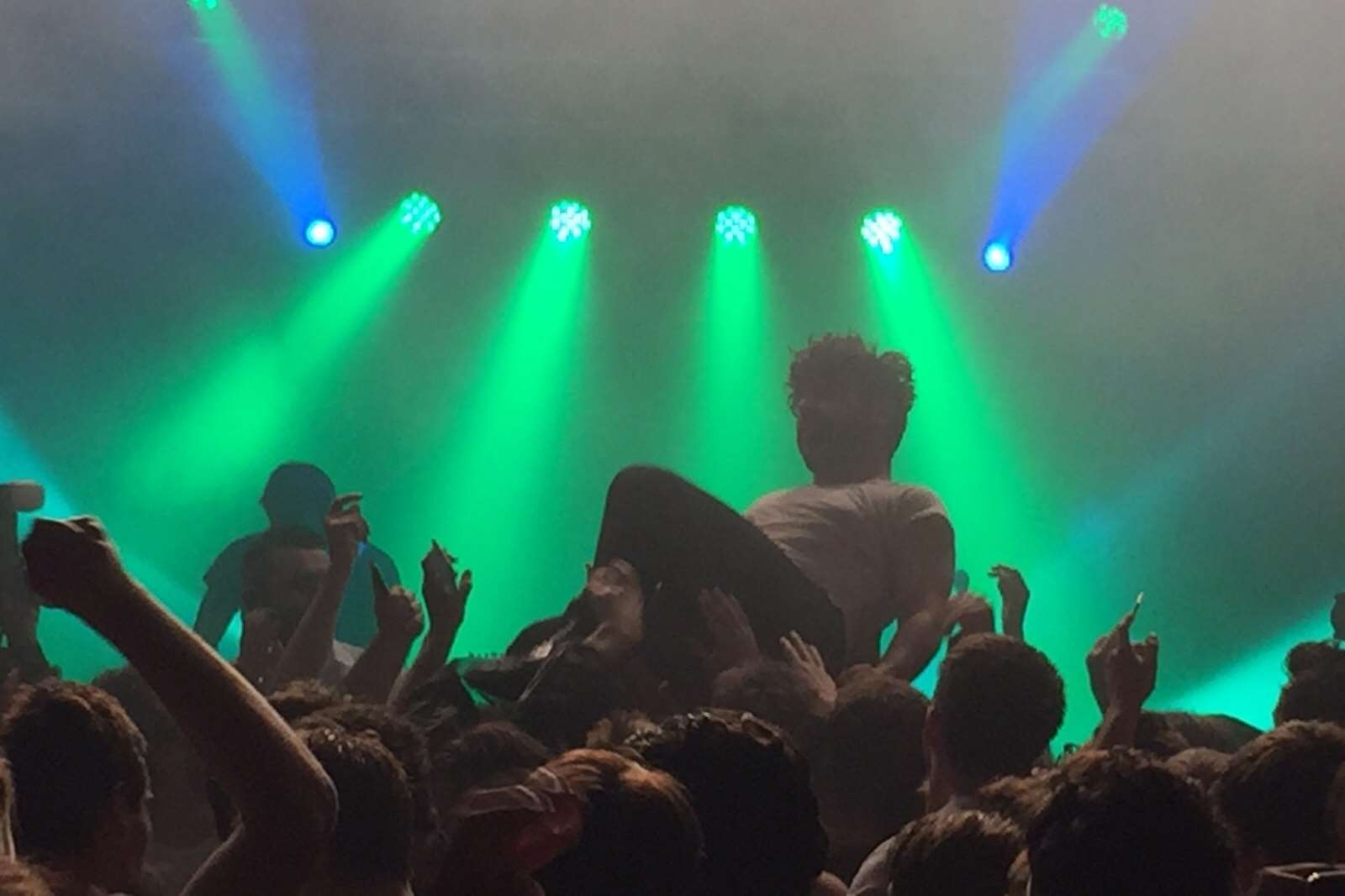Foals frontman Yannis Philippakis enjoyed three crowdsurfing jaunts. Picture: Nick Chipperfield