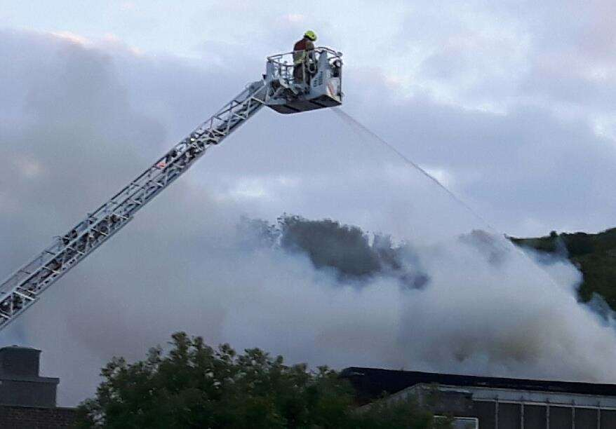 A firefighter on a height platform tackles the nightclub blaze.Picture: Sam Lennon.