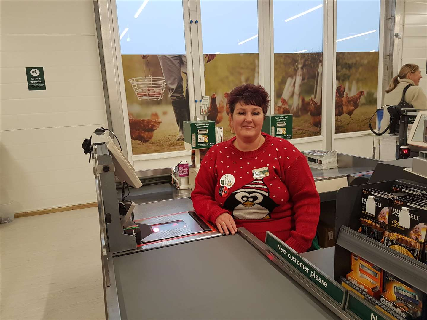 Jackie York from Cheriton back on tills at the temporary store (5807345)