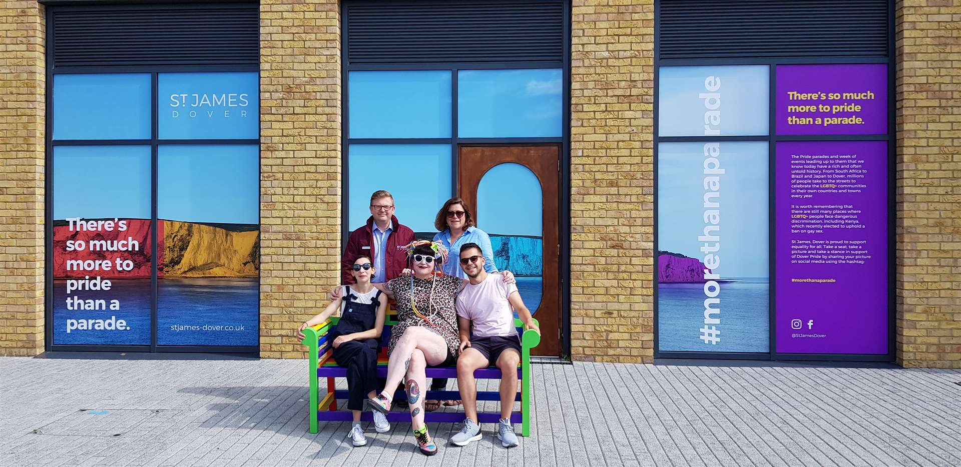 The new bench with, from top to bottom, left to right:, Geoffrey Hobbs-East, facilities manager at St James', Lisa Oulton,director of Future Foundry,Sarah Dimech of Future Foundry, and Pride organisersFrazer Doyle andEmma Brimson.Picture: Dover St James'
