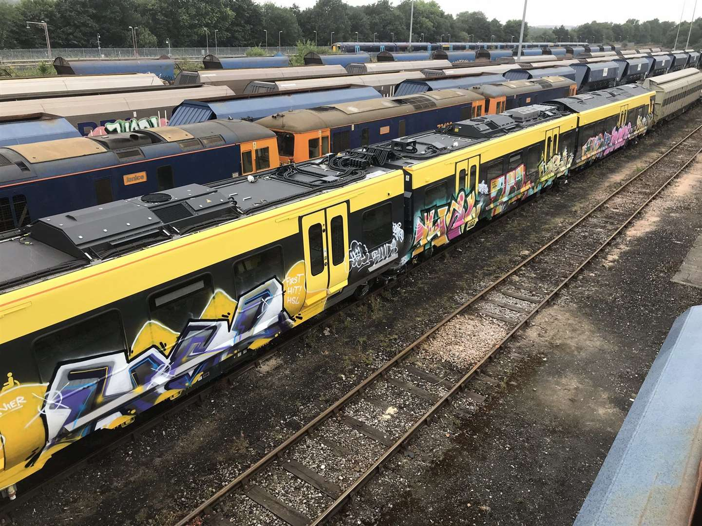 Vandalised brand new train carriages covered in graffiti while parked at Tonbridge rail depot. Picture: Nicholas Garner - Railmen of Kent (Twitter)