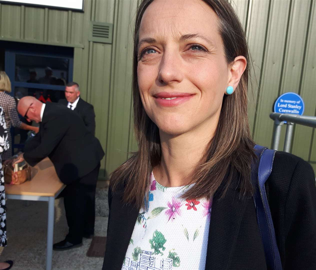 Helen Whately arriving at the hustings