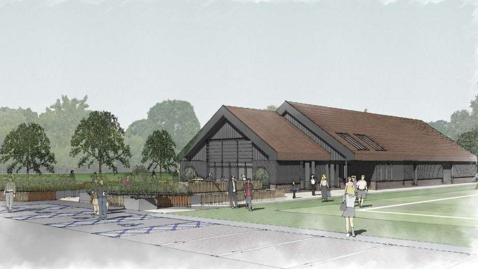 An image of the sports pavilion that would be built if Wates gets the go ahead for its plan