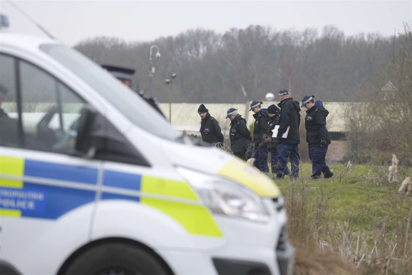Police search the Bears Lane site near Great Chart, Ashford Picture: Barry Goodwin