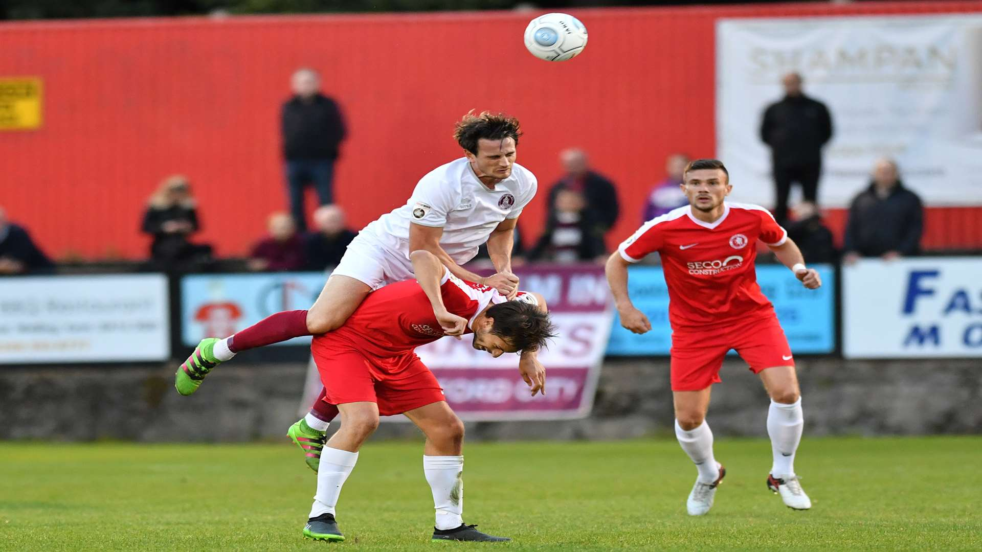 Welling midfielder Joe Healy is fouled against Chelmsford. Picture: Keith Gillard