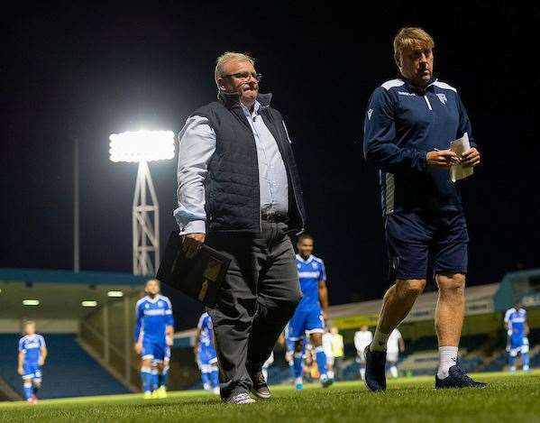 Gillingham boss Steve Evans with assistant Paul Raynor Picture: Ady Kerry (16098694)