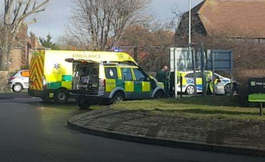 Police and ambulance crews at the scene on January 28