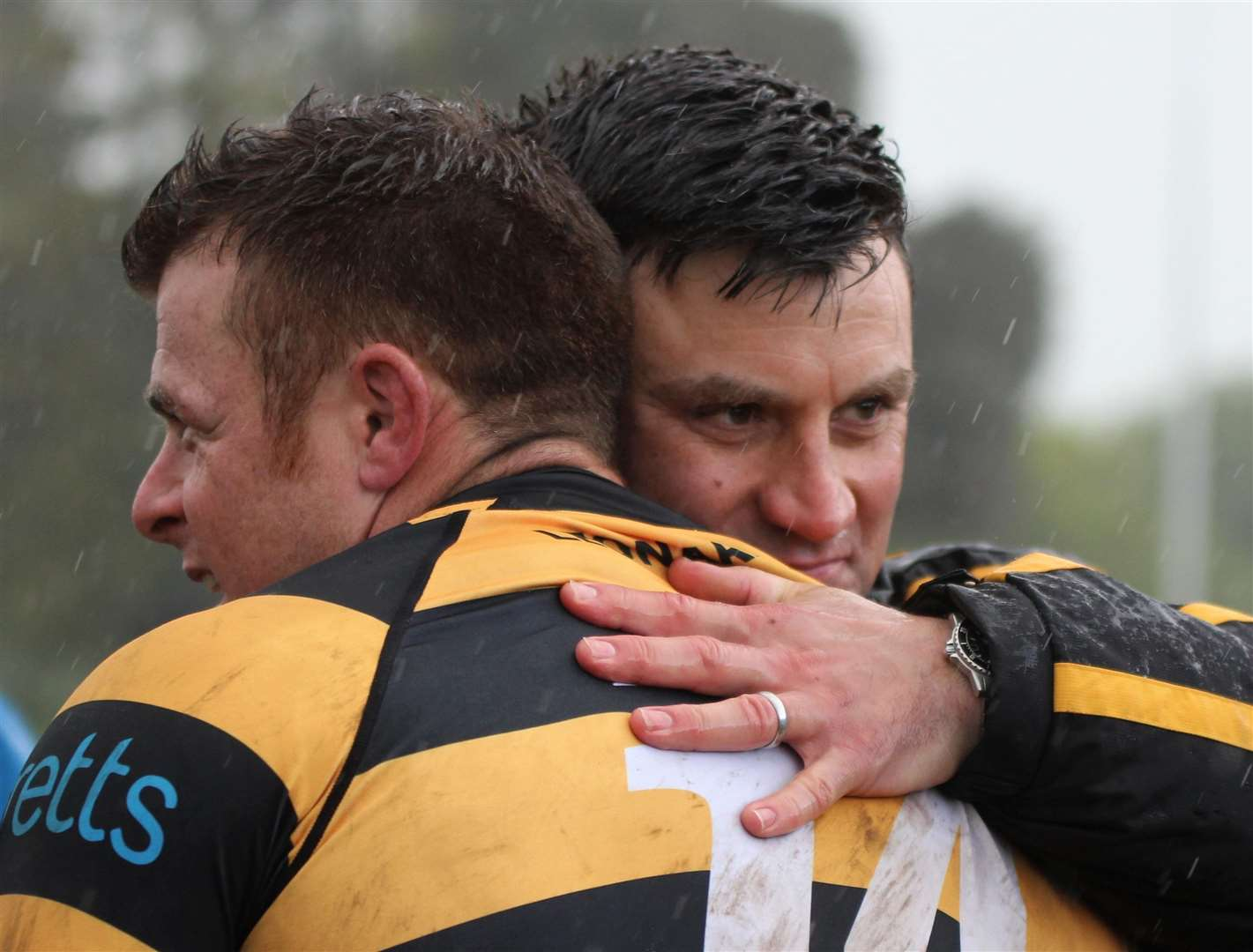 Canterbury's head of rugby Andy Pratt celebrates the play-off win over Chester with Ricky Mackintosh Picture: Phillipa Hilton