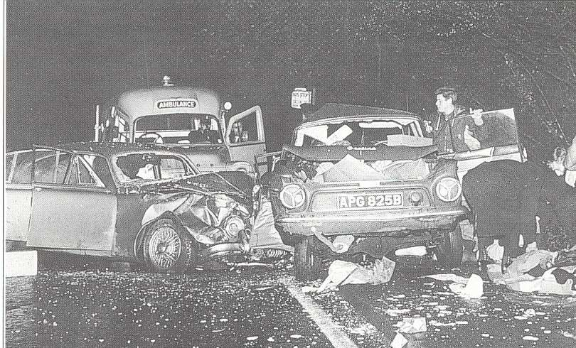 The accident at Blue Bell Hill on November 19, 1965, killed three young women and is said to be the incident that sparked 'the phantom hitchhiker'. Picture: S.B Publications