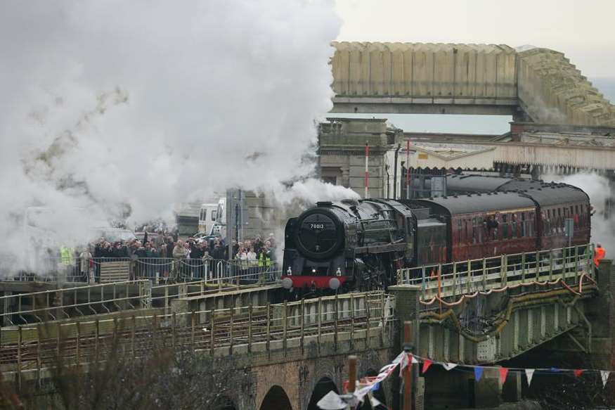 The Oliver Cromwell steam engine visits the harbour line station