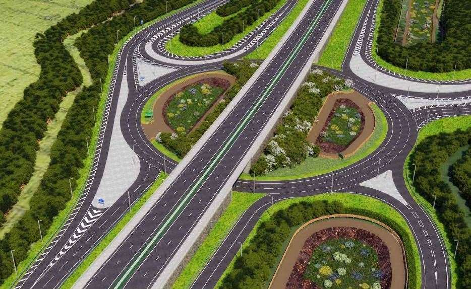 The new-look Stockbury Roundabout from above (12303663)