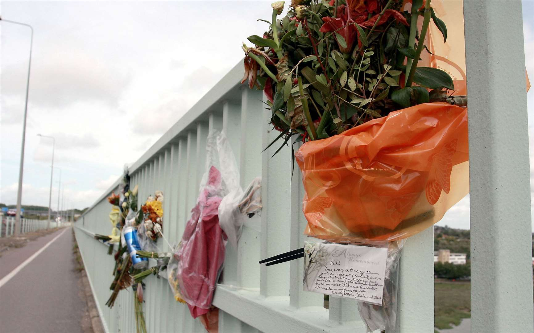 The tributes left on Medway Bridge for Billy Angell.Picture: Phil Lee (15073535)