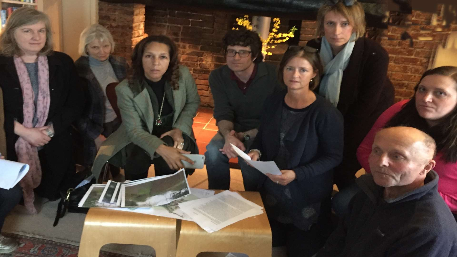 Members of The Yalding Residents for Sensible Development Group examine the planning application with Helen Grant MP. From left, Lisa Brooks, Jenny Scott, Helen Grant, John Ackerman, Bethan Godden, Meg West, Susie Welland and Stephen Day